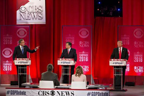 Jeb Bush, Ted Cruz and Donald Trump