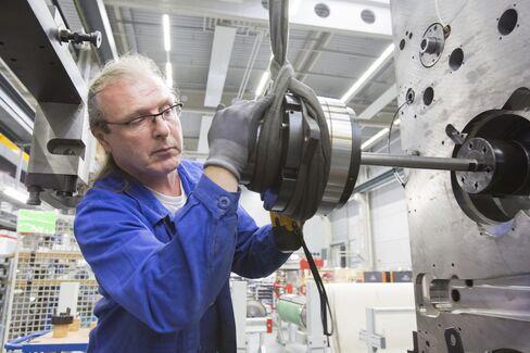 An Employee works at Heidelberger Druckmaschinen in Wiesloch