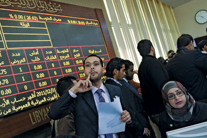 March 2012: The floor of the Libyan Stock Market, which reopened on March 15