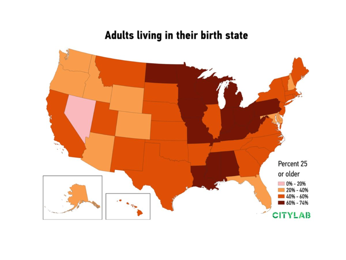 Mobile vs. Stuck: Who Lives in Their U.S. Birth State? - Bloomberg