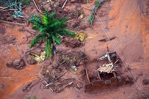 Aerial view of damages after a dam burst in the village of Bento Rodrigues, in Mariana, Minas Gerais state