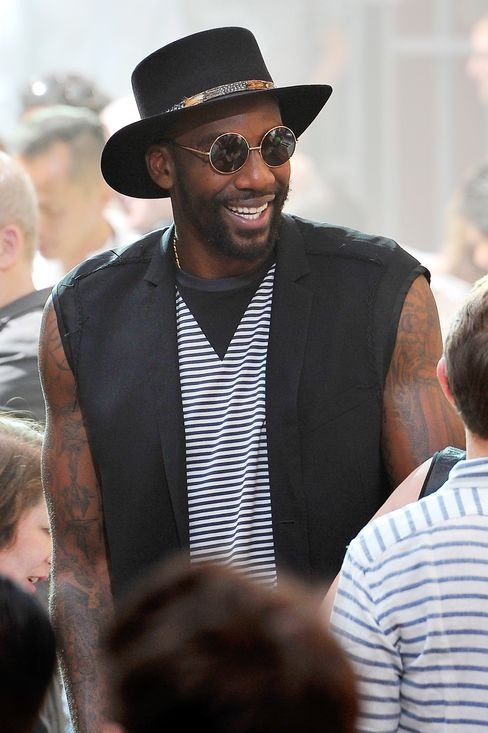 Stoudemire outside of the Lanvin show on the last day of Paris Fashion Week.