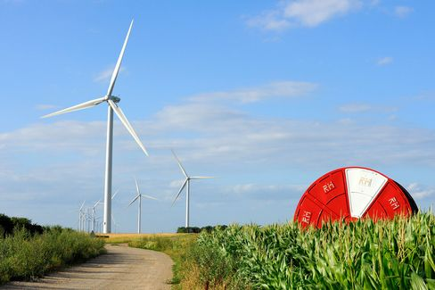 Wind turbines operate in Lethuin, France.