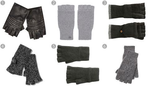 (1) Black leather fingerless gloves, River Island $40, riverisland.com; (2) gray knit fingerless gloves, Marc by Marc Jacobs $90, ssense.com; (3) convertible gloves, Joe Fresh $14, joefresh.com; (4)marled fingerless gloves, Gap $19.95, gap.com; (5) Kaden mitts, Rag & Bone $125, rag-bone.com; (6) cashmere fingerless gloves, RRL & Co.$145, ralphlauren.com.