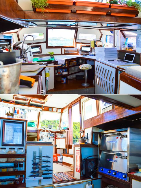 """It took the couple two years to transform the vessel from a termite-infested junkyard find to a fully operational """"food truck boat."""" Every kitchen tool and ingredient is secured in the event of rough seas."""