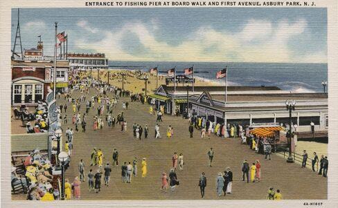 A view of the Asbury Park boardwalk circa 1930.