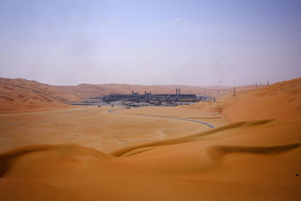 A natural gas facility in Aramco's Shaybah oil field.