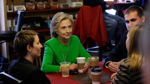 Democratic presidential candidate Hillary Clinton meets with local residents April 14, 2015, in LeClaire, Iowa.