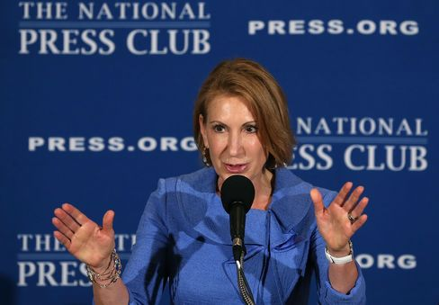 Carly Fiorina speaks at the National Press Club on July 1, 2013, in Washington.