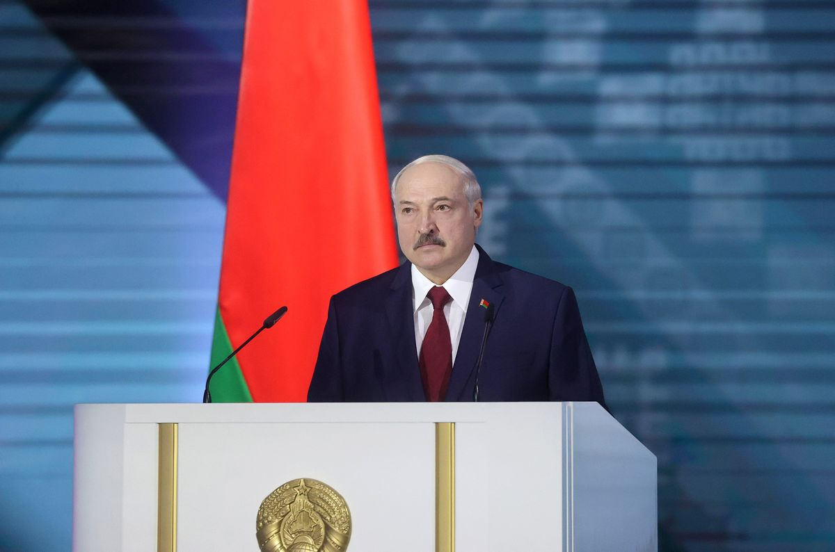 Alexander Lukashenko delivers his annual address to the nation in Minsk on Aug. 4.