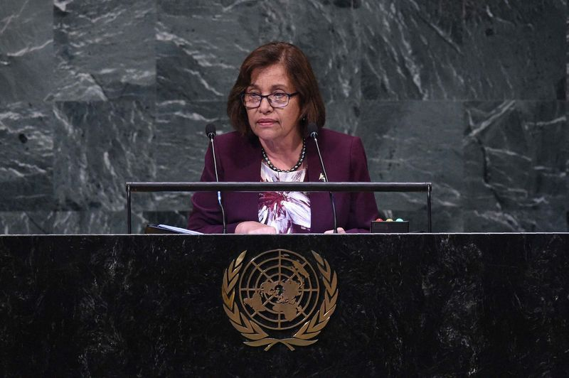 Marshall Islands' President Hilda Heine speaks at the General Debate of the 73rd session of the General Assembly at the United Nations on September 25, 2018 in New York.