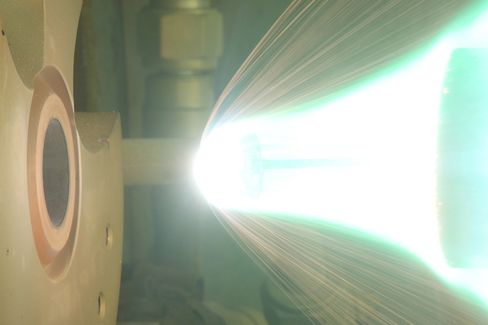 A would-be shooting star is ignited in a test in an arc-heated wind tunnel at the ISAS (the Institute of Space and Astronautical Science ) in Sagamihara, Kanagawa, Japan.