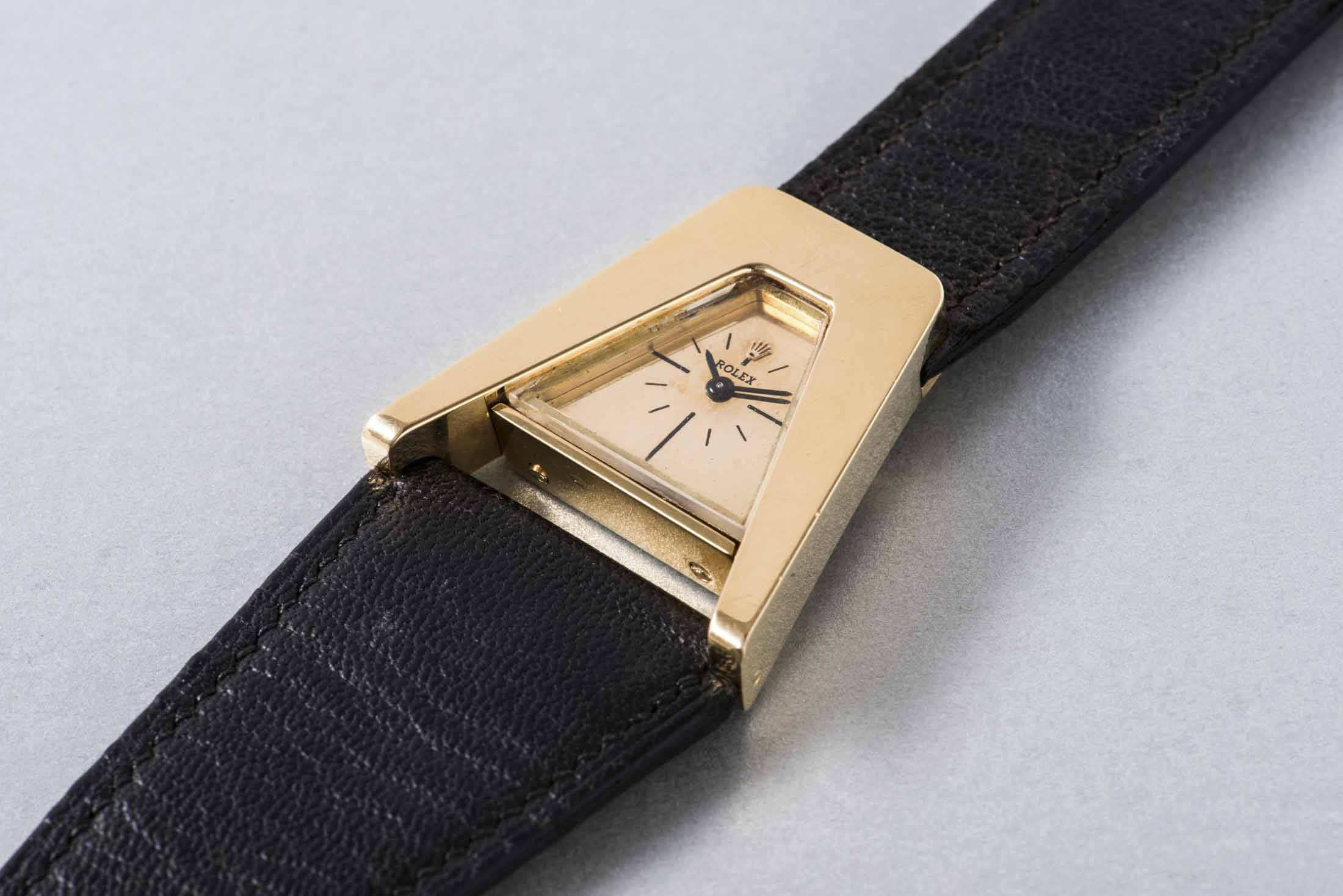 Rolex Unique and Highly Unusual Asymmetrical Gold Wristwatch