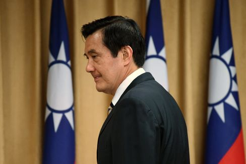 Taiwan's President Ma Ying-jeou attends the Mainland Affairs Council (MAC) in Taipei on April 29, 2015.