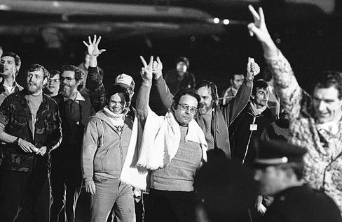American hostages in Algiers after their flight from Teheran where they had been held captive for 444 days on Jan. 21, 1981.