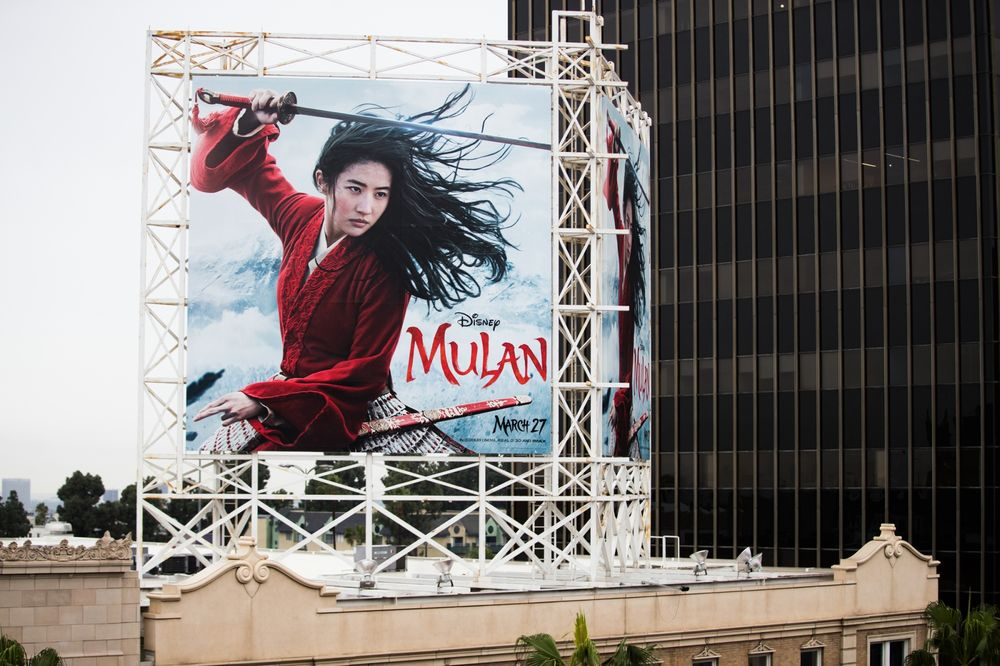 "An outdoor ad for Disney's ""Mulan"" is seen in Hollywood on March 13."