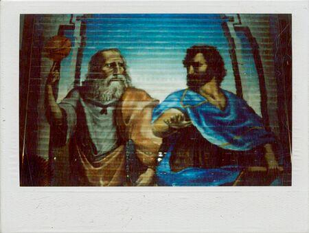 Murals of Greek gods on a shop window