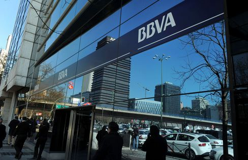 Pedestrians Pass A Banco Bilbao Vizcaya Argentaria SA Branch
