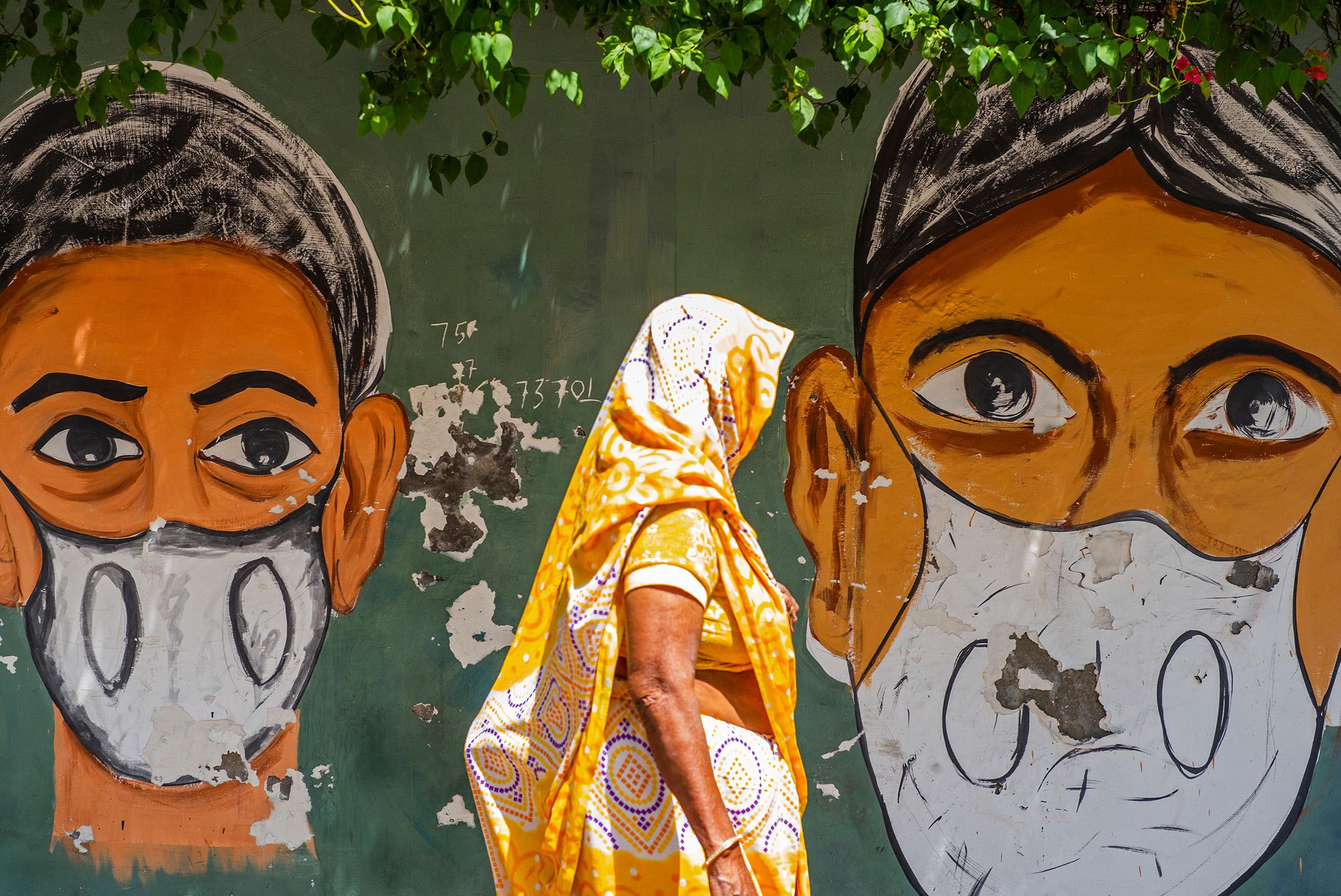 A Covid-19 awareness mural in New Delhi on April 2.