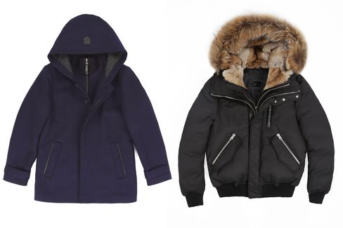Mackage's Gerald flat wool coat (left) and Dixon-F5 luxe down bomber with fur hood (right). Also check out itspop-up shop currently open in New York on Madison Avenue, or itsnew shop in Montreal.