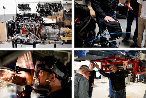 (左上から時計回りに):COPOカマロのエンジン;ミッチェルさんがCOPOカマロのオプションで付けたパラシュート;工場でのコリンズ氏(右);COPOのシャシー(車台)を仕上げる溶接工