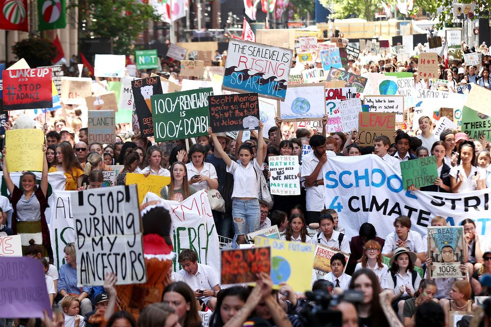Students gather to demand the government take action on climate changein Sydney, Australia,on Nov. 30, 2018.