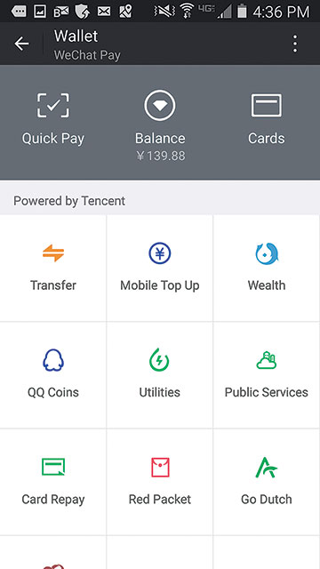The WeChat wallet.