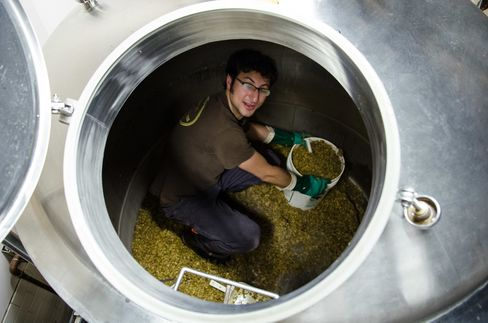 Alex Ganum at work in his brewery.