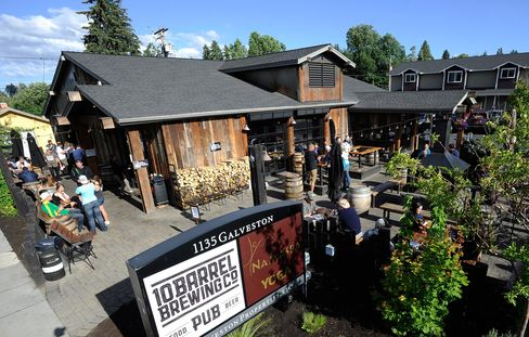 The outdoor seating area at 10 Barrel Brewing in Bend, Ore., one of the breweries sold to Anheuser-Busch, the U.S. arm of Anheuser-Busch InBev.