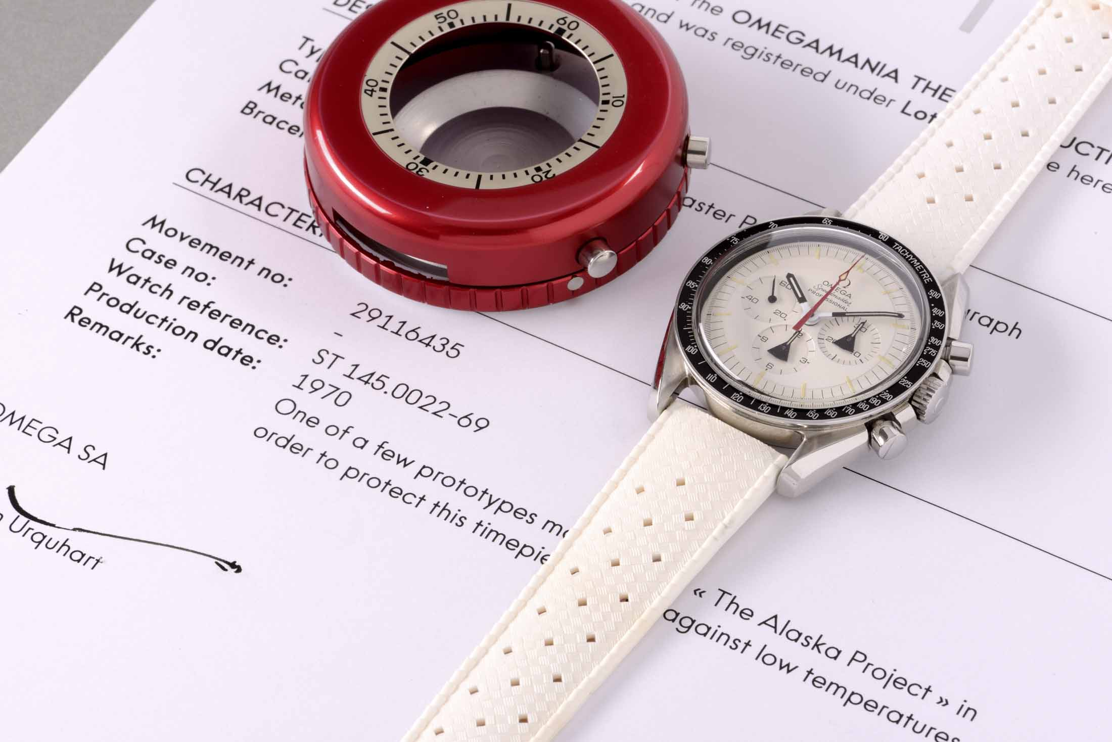 """Omega Stainless Steel Prototype """"ALASKA"""" Speedmaster Wristwatch With White Dial and Tachometer Bezel"""