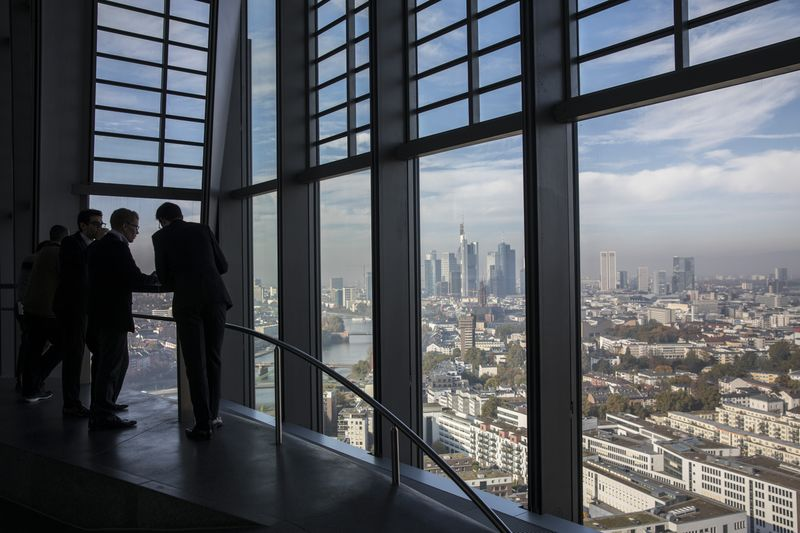 Visitors Take In The City Skyline View From The 15th Floor Pantry Area  Inside The European Central Bank (ECB) Headquarters As Skyscrapers Tower  Over ...