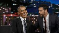 President Barack Obama talks to host Jimmy Kimmel during a commercial break in between taping of Jimmy Kimmel Live! in the Hollywood neighborhood on October 24, 2016 in Los Angeles, California.