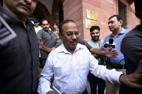 Ajit Doval leaves the Home Ministry after a high level meeting on Kashmir issue in July 2016.