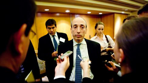 Gary Gensler speaks to reporters after giving a speech in Washington on Oct. 4, 2010.