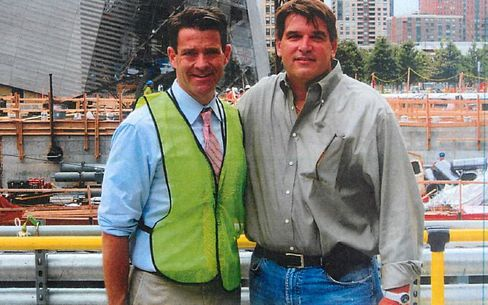 Sokolich, right, with Baroni at the World Trade Center site.