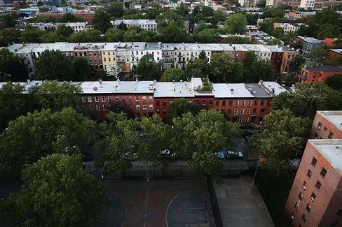 Apartment buildings in Brooklyn, New York.
