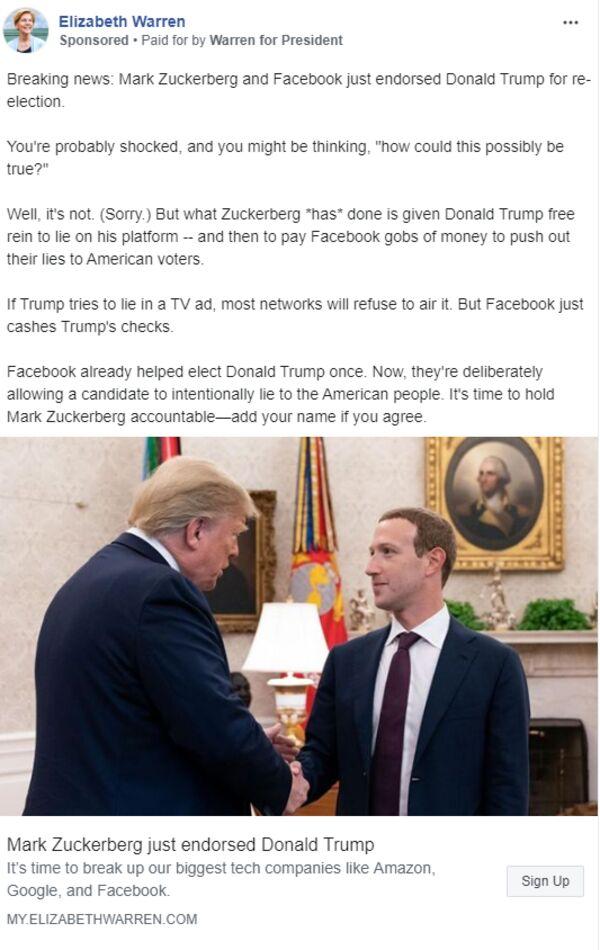 relates to Warren Buys Facebook Ads That Claim Zuckerberg Backs Trump
