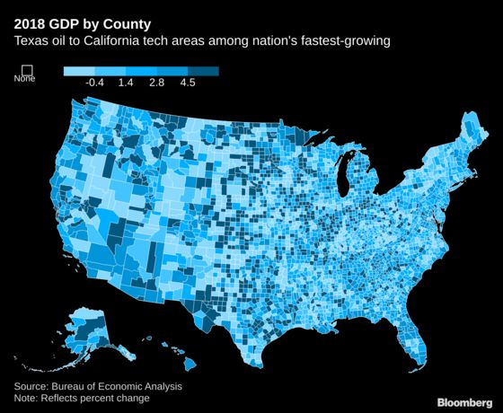 Tech Giants and Oil Drive Fastest GDP Growth Among U.S. Counties