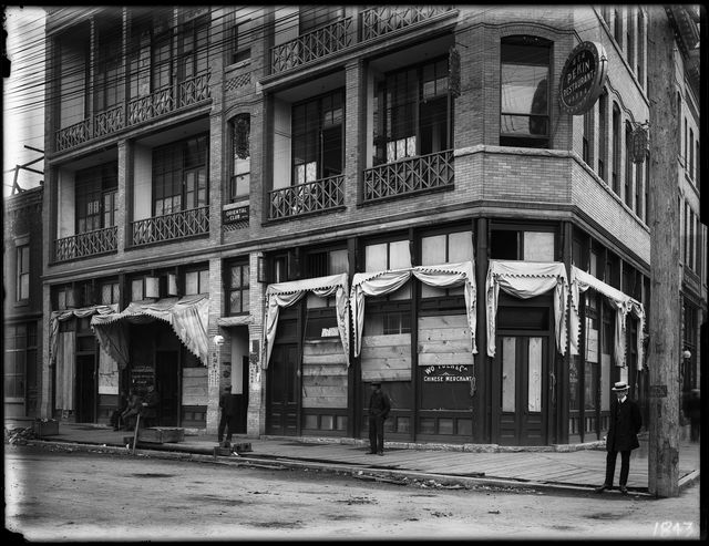 Boarded-up buildings in Chinatown after race riots, Carrall Street, Vancouver, BC DATE: 1907