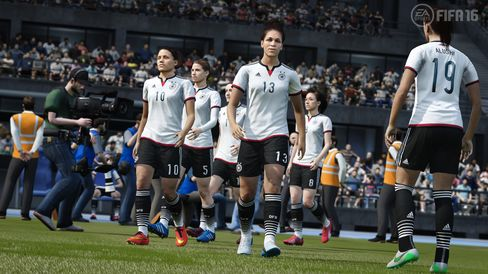 A screenshot of the virtual German women's national team as featured in the FIFA 16 video game. EA Sports announced women's national teams would appear in this year's game for the first time in franchise's history.