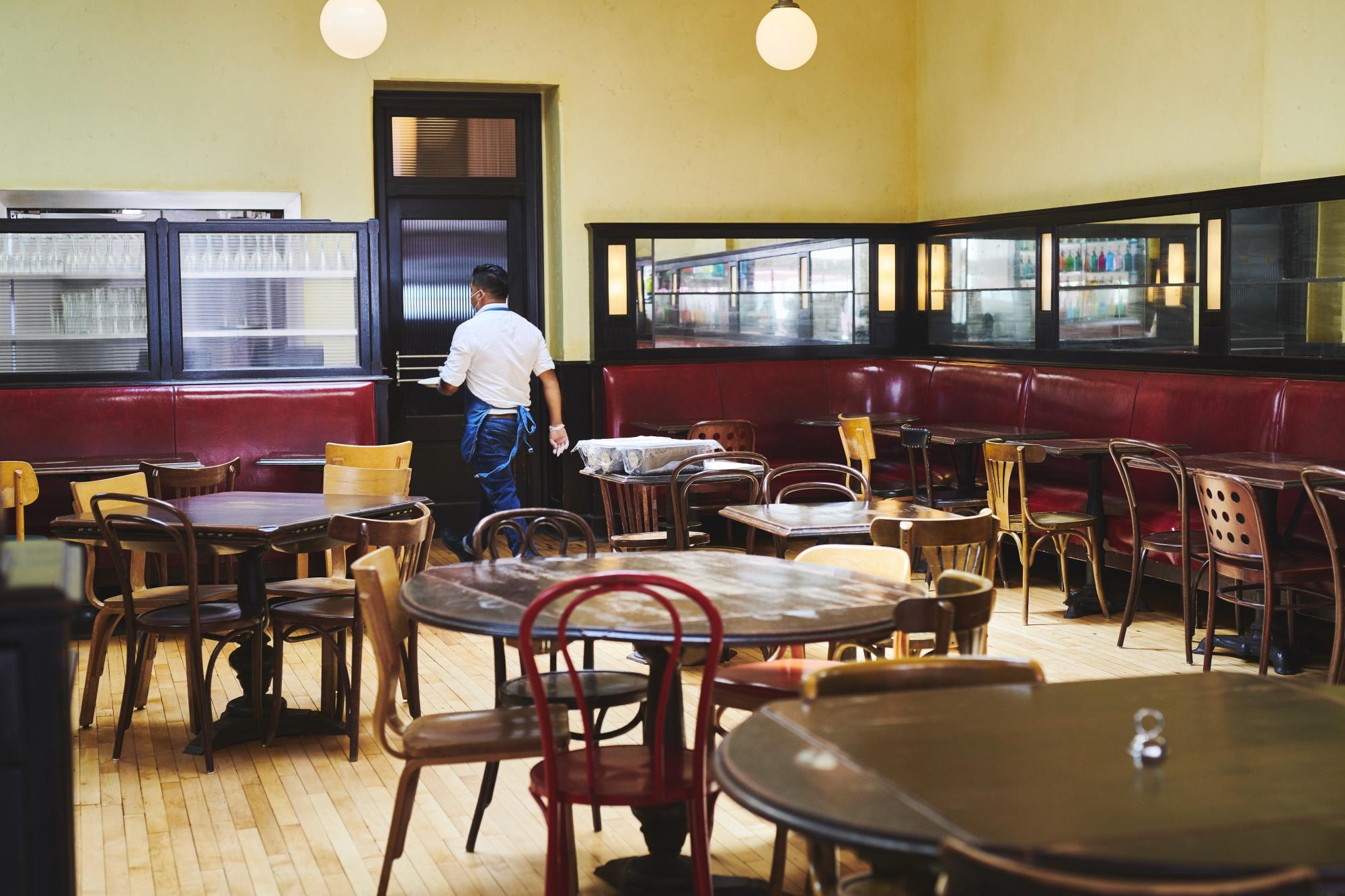 An empty restaurant in Montclair, New Jersey.