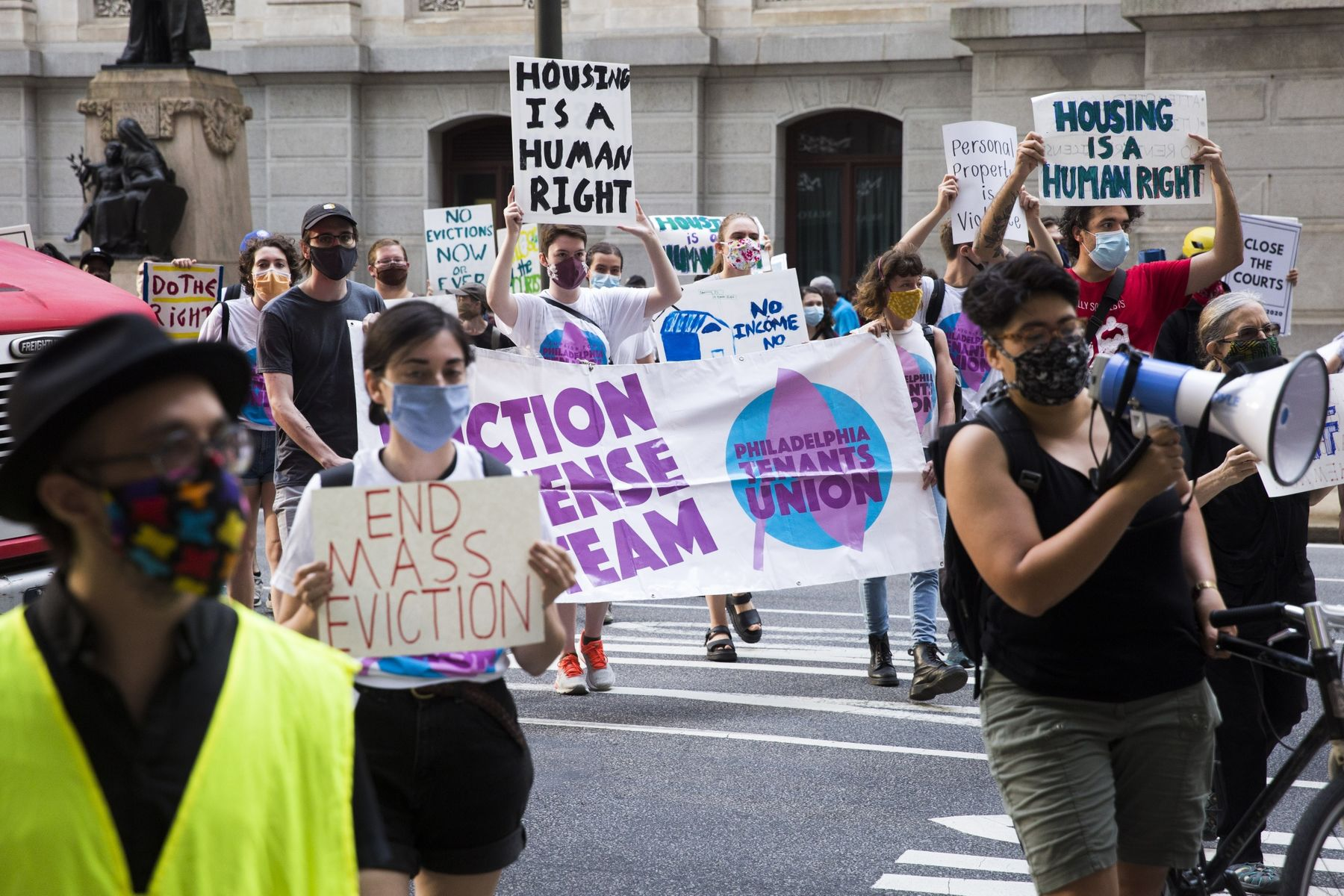 Demonstrators in Philadelphia march from City Hall to the Municipal Court to protest against evictions in September2020. A city program started during the pandemic has thwarted hundreds of evictions.