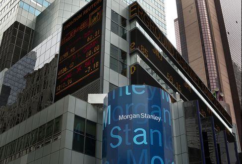 Morgan Stanley Signage Sits Outside the Company Headquarters