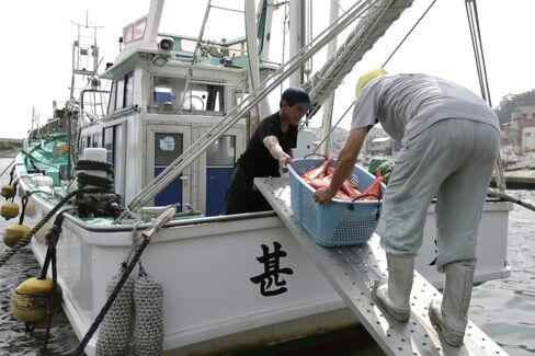 Fishermen unload a basket of fish at Inatori port in Japan