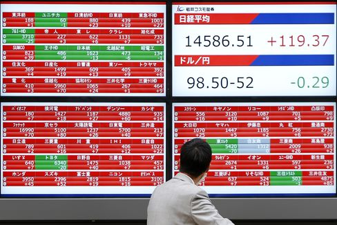 Man Looking At A Nikkei 225 Electronic Stock Board
