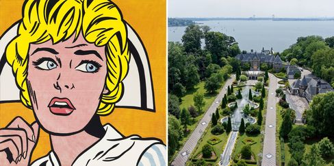 Left: Roy Lichtenstein, Nurse, 1964. Right: A waterfront estate with 60,000 square feet of living space in Kings Point, Long Island.