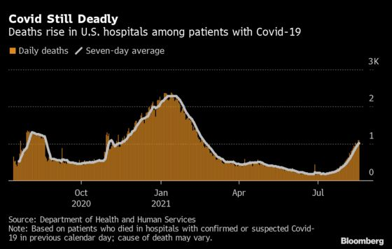 U.S. Covid Hospital Deaths Hit February Levels as ICUs Overflow