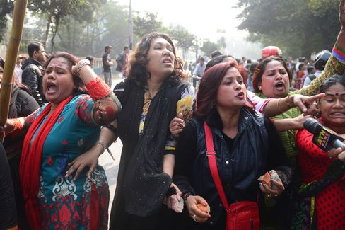 Awami League Party Supporters React Outside the Supreme Court