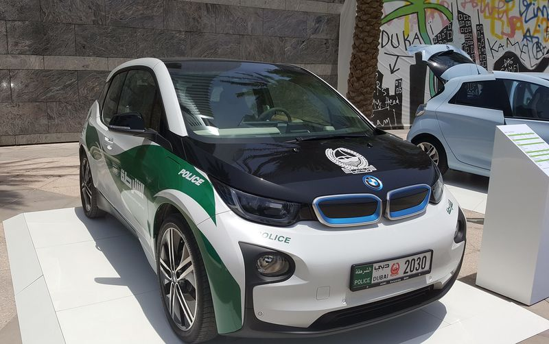 a bmw i3 electric police car on display at an event in dubai united arab emirates on may 10 2017
