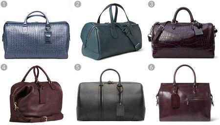 (1) Light tourmaline intrecciato duffel, Bottega Veneta $4,170, bottegaveneta.com; (2) Cabina pebbled-leather holdall, Valextra $4,120, mrporter.com; (3) Boston alligator bag, Ralph Lauren $25,000, ralphlauren.com; (4) grainy leather holdall, Burberry $3,095, burberry.com; (5) black leather carry-on bag, Givenchy $3,150, sense.com; (6) 48-hour Venezia leather holdall bag, Berluti $4,350, mrporter.com
